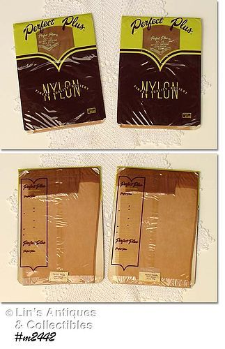 2 PAIRS VINTAGE PERFECT PLUS SEAMED NYLONS SIZE 10 1/2