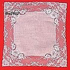 WEDDING / WHITE HANDKERCHIEF WITH LACE BORDER