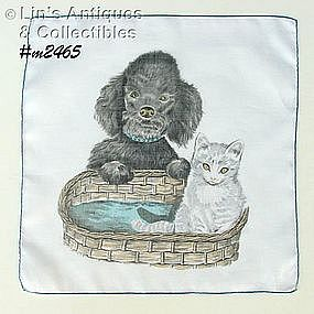 POODLE AND KITTEN HANDKERCHIEF