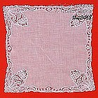 WEDDING / WHITE HANDKERCHIEF WITH LACE EDGE AND CORNERS