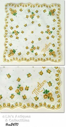 VINTAGE YELLOW ROSES HANDKERCHIEF FOR MOTHER