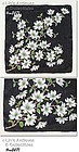 VINTAGE BLACK HANDKERCHIEF COVERED WITH WHITE DOGWOOD BLOOMS