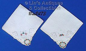 PAIR OF HANDKERCHIEFS WITH PETIT POINT ROSES