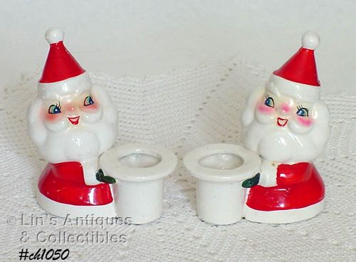HOLT HOWARD VINTAGE SANTA CANDLE HOLDERS