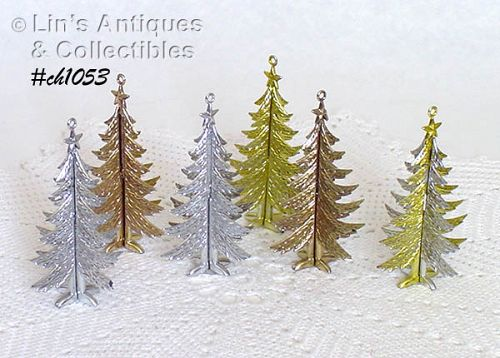 SET OF 6 VINTAGE CHRISTMAS TREE SHAPED PLASTIC ORNAMENTS