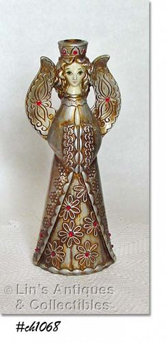 "VINTAGE 12"" TALL ANGEL CANDLE HOLDER"