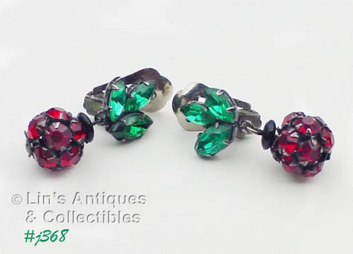 VINTAGE RHINESTONE CHERRY WITH LEAVES EARRINGS MADE IN AUSTRIA