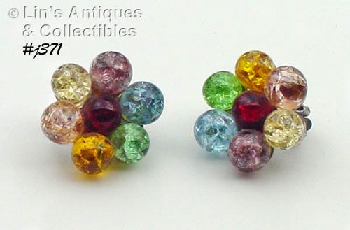 "VINTAGE ""CRACKLE GLASS"" CLIP STYLE EARRINGS"