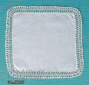 WHITE HANDKERCHIEF WITH WHITE CROCHET