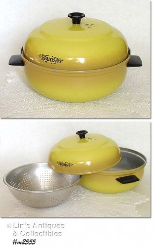 VINTAGE YELLOW MIRRO ALUMINUM BUN WARMER