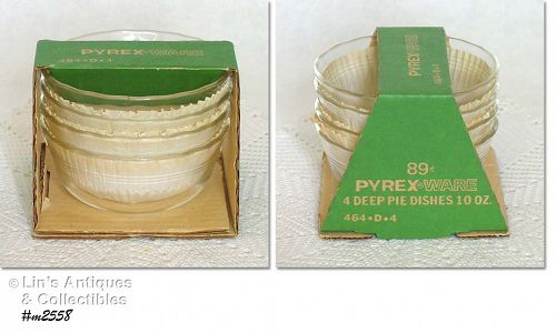 PYREX -- 4  DEEP PIE 10 OZ. DISHES (MINT IN PACKAGE)
