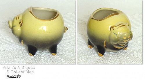 SHAWNEE POTTERY ROLY POLY ROUND PIG PLANTER WITH GOLD TRIM
