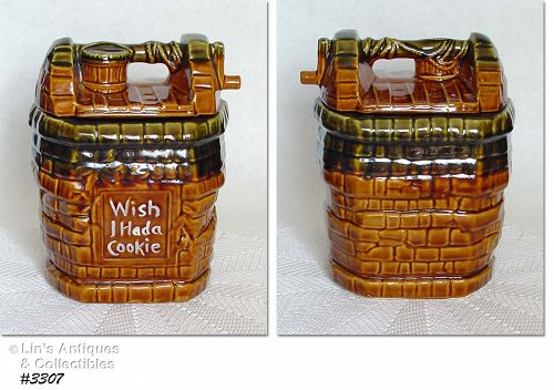 "McCOY POTTERY -- ""WISH I HAD A COOKIE"" WISHING WELL COOKIE JAR"
