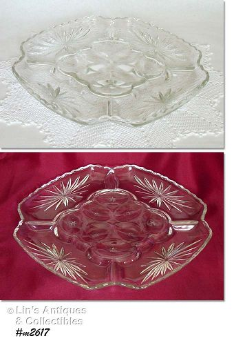 VINTAGE EARLY AMERICAN PRESCUT DEVILED EGG  PLATE