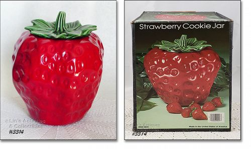 McCOY POTTERY -- RED STRAWBERRY COOKIE JAR