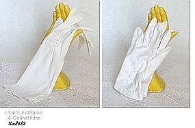 TWO PAIRS LADIES WHITE GLOVES