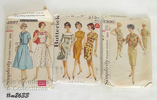 TWO SIMPLICITY AND ONE BUTTERICK PATTERN VINTAGE PATTERNS SIZE 16