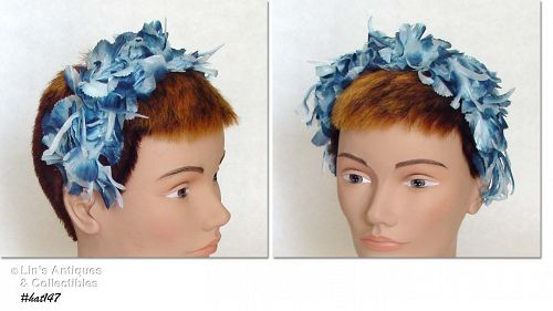 VINTAGE BLUE FLOWERS HAIR BAND STYLE HAT