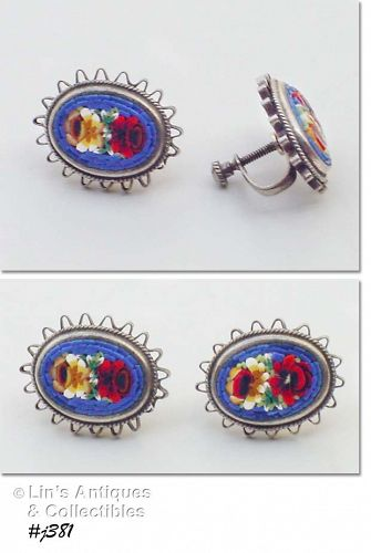 VINTAGE FLORAL MOSAIC SCREW BACK EARRINGS