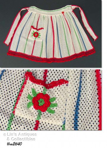VINTAGE CROCHET OPEN WEAVE DISHTOWELS HALF APRON WITH FLOWER POCKET