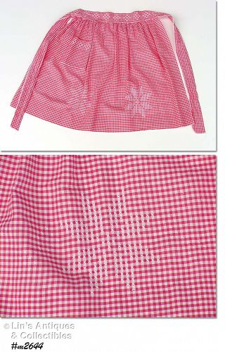 VINTAGE RED GINGHAM CHRISTMAS SNOWFLAKES CROSS STITCH HALF APRON