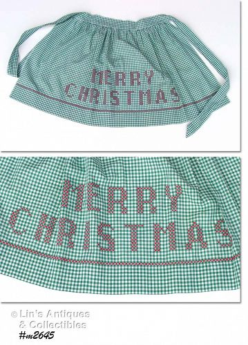 VINTAGE GREEN GINGHAM APRON WITH CROSS STITCHED MERRY CHRISTMAS