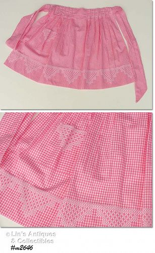 VINTAGE PINK GINGHAM CHICKEN SCRATCH CROSS STITCH HALF APRON