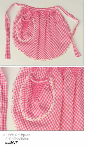 VINTAGE PINK GINGHAM HALF APRON WITH RICKRACK TRIM ON POCKET