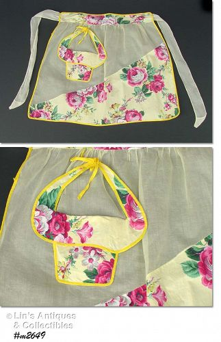 VINTAGE YELLOW HALF APRON WITH PINK FLOWERS AND FANCY POCKET