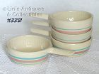McCOY POTTERY -- 4 PINK AND BLUE STONECRAFT CASSEROLES