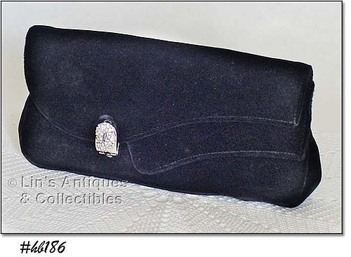 VINTAGE GARAY BLACK VELVET CLUTCH STYLE HANDBAG