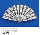 VINTAGE STERLING SILVER FAN SHAPED PIN BROOCH