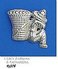 STERLING SILVER MAN WITH BASKET PIN