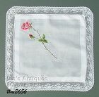 VINTAGE WHITE HANDKERCHIEF WITH LARGE PETIT POINT ROSE