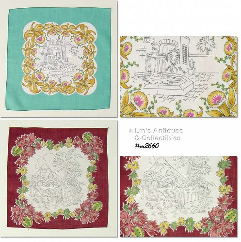 LOT OF TWO VINTAGE HANDKERCHIEFS WITH SCENIC CENTERS