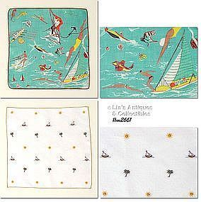WATER FUN ACTIVITIES VINTAGE HANDKERCHIEF PLUS A FREE HANKY!