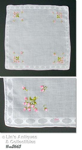 VINTAGE WHITE HANDKERCHIEF WITH BOUQUETS OF PINK ROSEBUDS