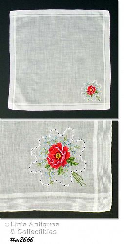 VINTAGE WHITE WEDDING HANDKERCHIEF WITH PETIT POINT FLOWER