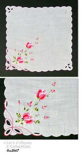 VINTAGE WHITE WEDDING HANDKERCHIEF WITH PINK ROSES