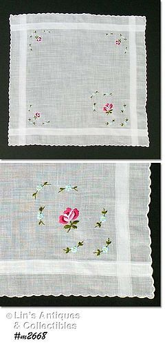 VINTAGE WHITE HANDKERCHIEF WITH EMBROIDERED ROSES IN CORNERS