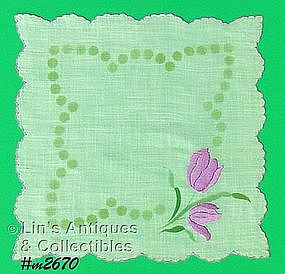 WHITE HANDKERCHIEF WITH PURPLE TULIPS