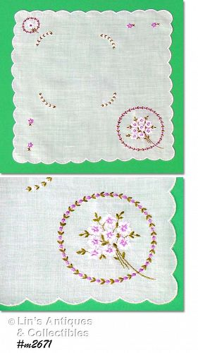 VINTAGE WHITE HANDKERCHIEF WITH BOUQUET OF EMBROIDERED VIOLETS