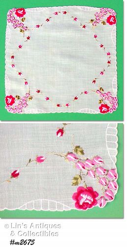 VINTAGE WEDDING HANDKERCHIEF WITH ROSES ROSES ROSES