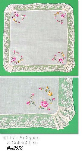 VINTAGE WHITE HANDKERCHIEF WITH PETIT POINT ROSES