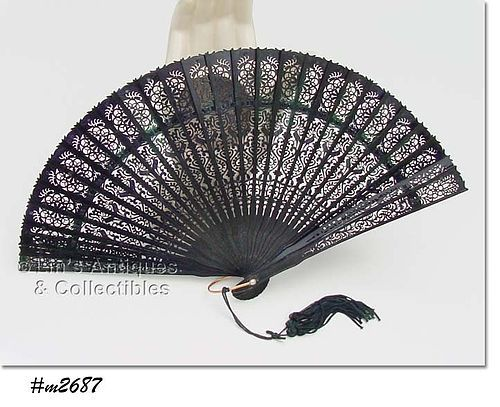 LADIES VINTAGE HAND-HELD BLACK PLASTIC FAN