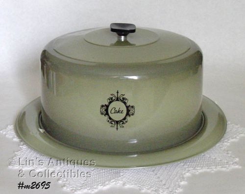 ALUMINUMWARE WEST BEND AVOCADO GREEN CAKE TAKER CAKE STORAGE