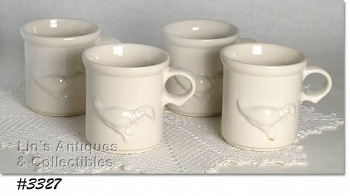 McCOY POTTERY SET OF 4 VINTAGE COUNTRY ACCENT CUPS