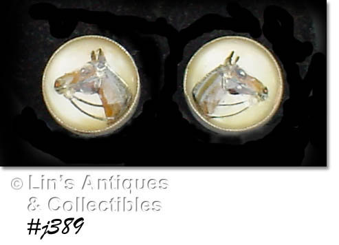 VINTAGE AMCO STERLING EARRINGS WITH HORSE HEAD UNDER LUCITE