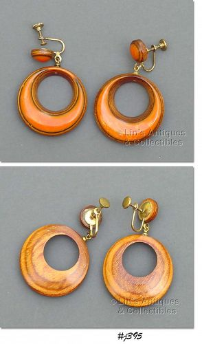 BAKELITE AND WOOD EARRINGS