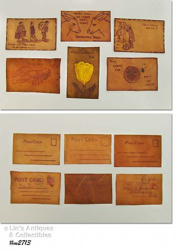 LOT OF SIX VINTAGE LEATHER POSTCARDS ALL DIFFERENT